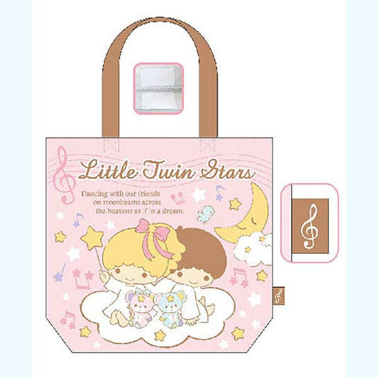 (PO) Little Twin Stars Odekake Tote Bag Pink (7)