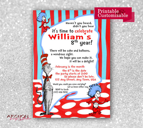 Cat in the Hat Birthday Party Invitation Dr Seuss Party A – Cat in the Hat Party Invitations