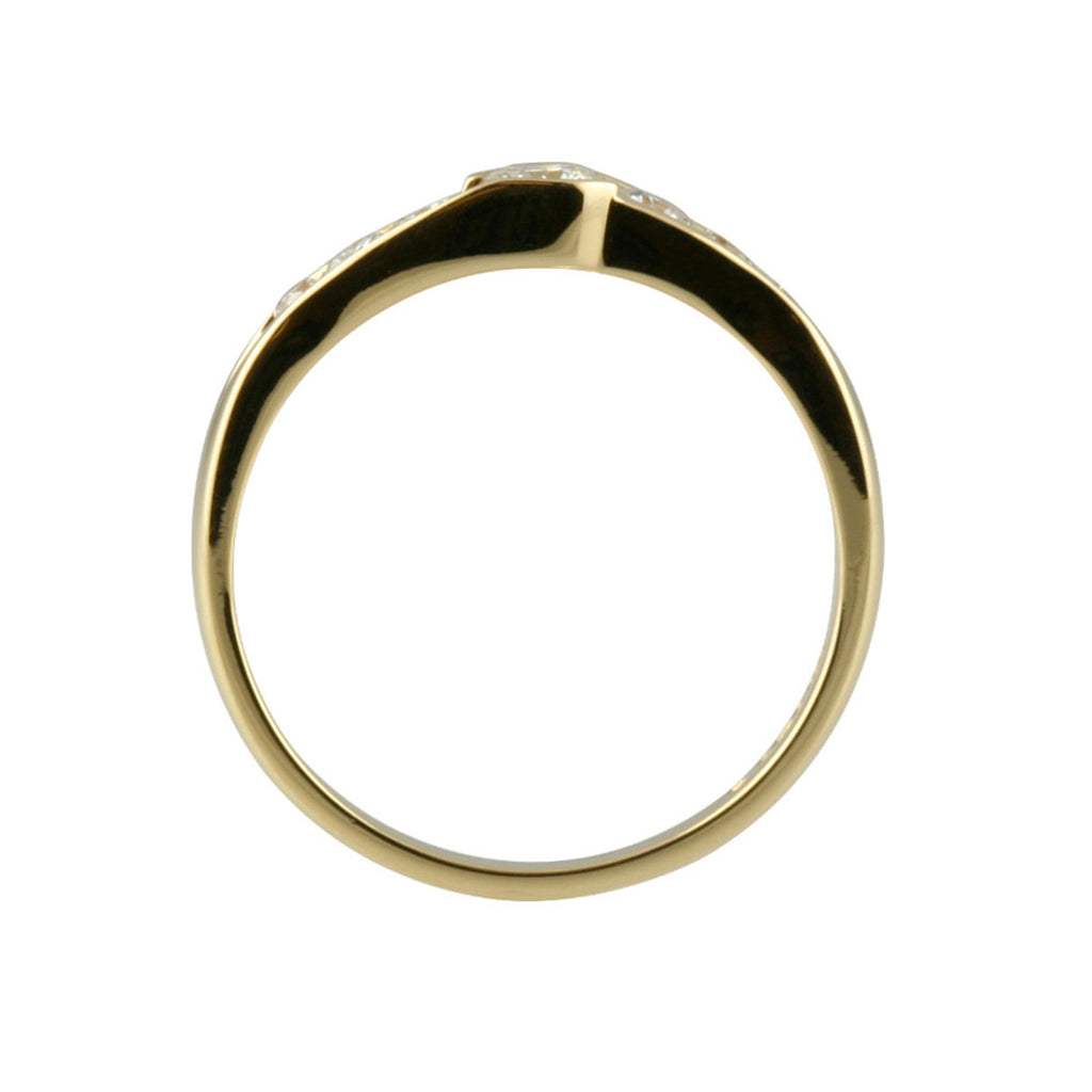 7 Stone Slight Crossover Gold Diamond Ring