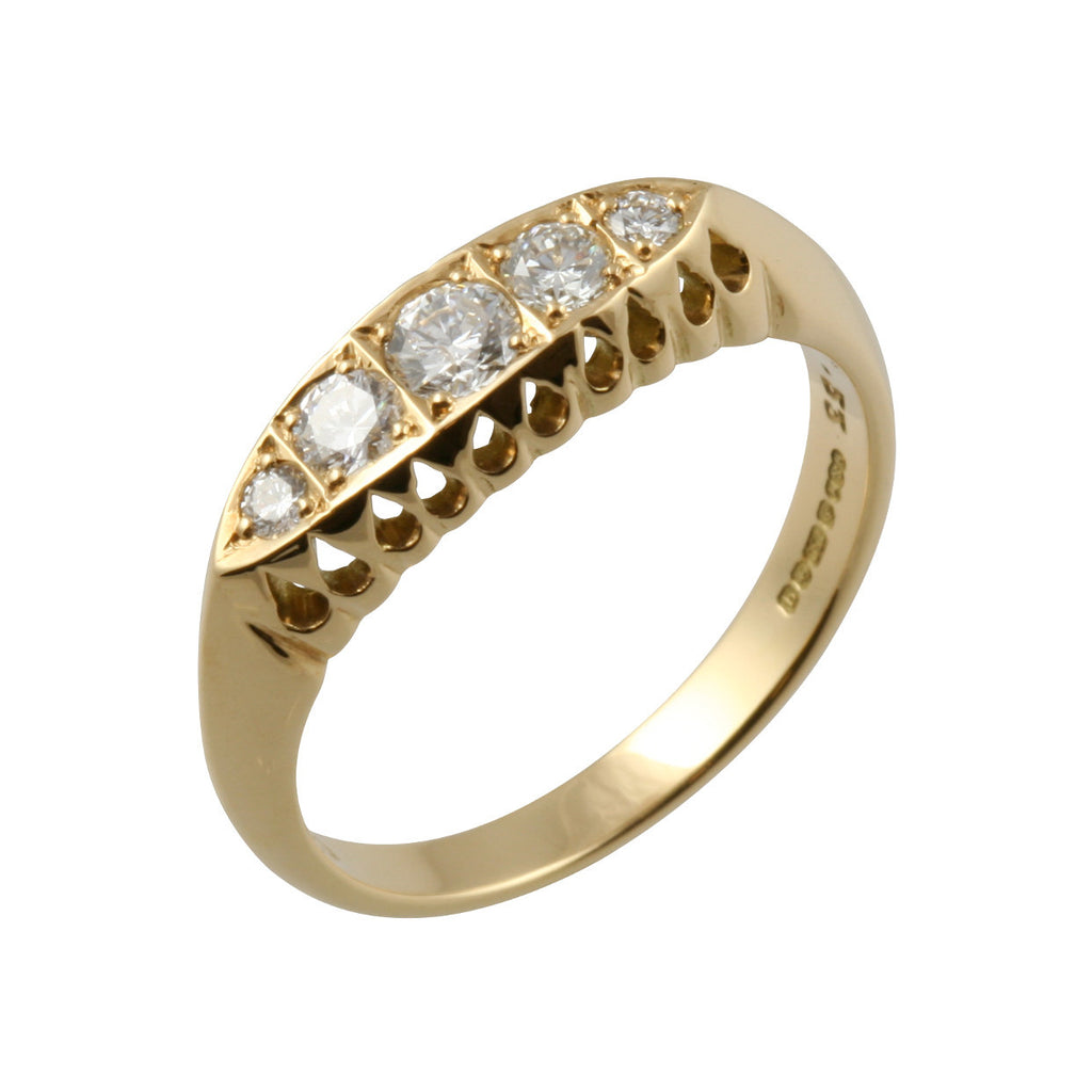 Victorian Style 5 Diamond Gold Ring