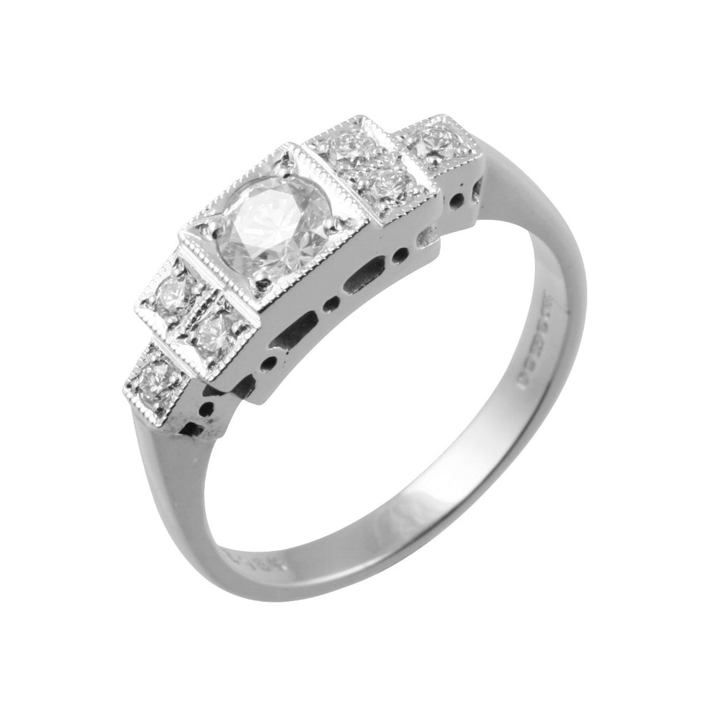 Art Deco Style 7 Diamond Ring