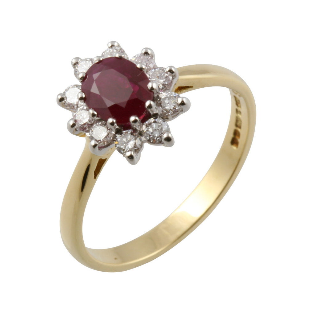 Oval Ruby & Diamond Cluster Ring