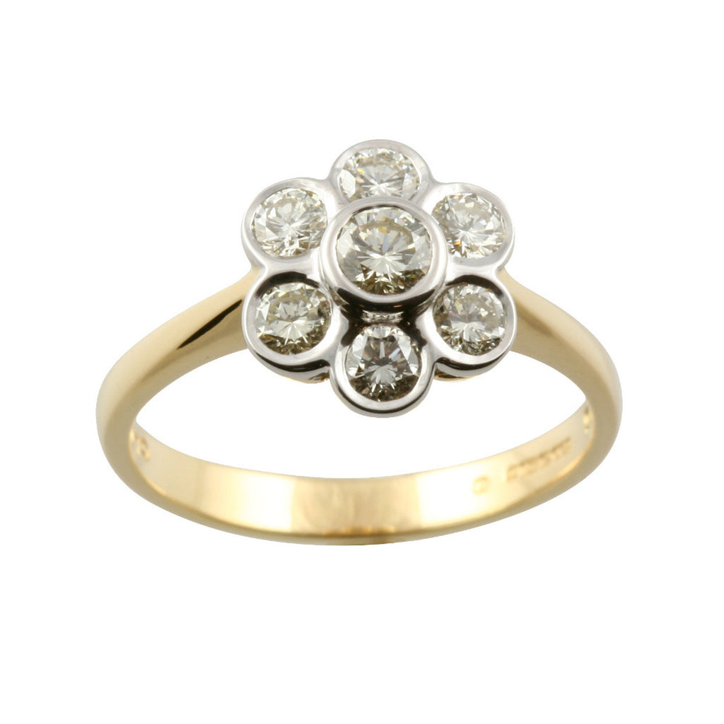 Daisy Style Diamond & Gold Cluster Ring