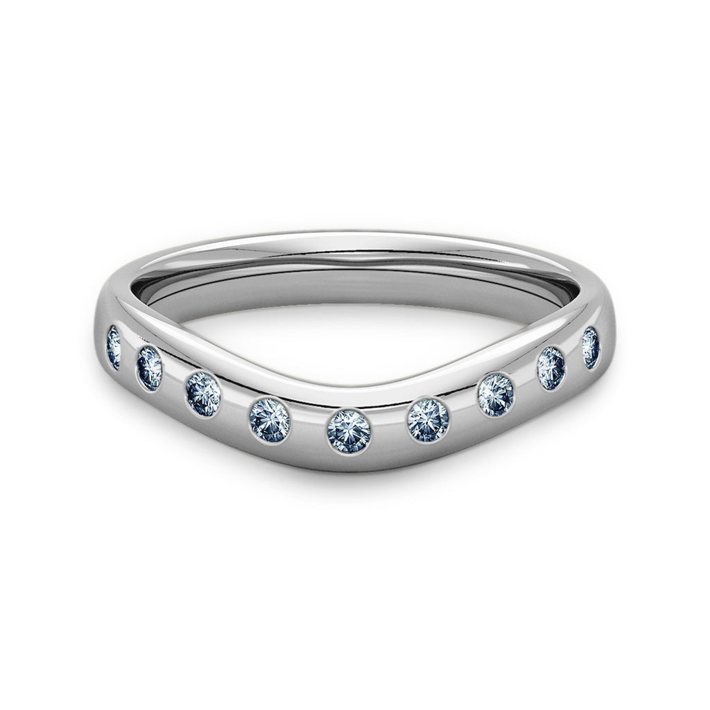 Curve Shaped Wedding Ring with 9 Diamonds