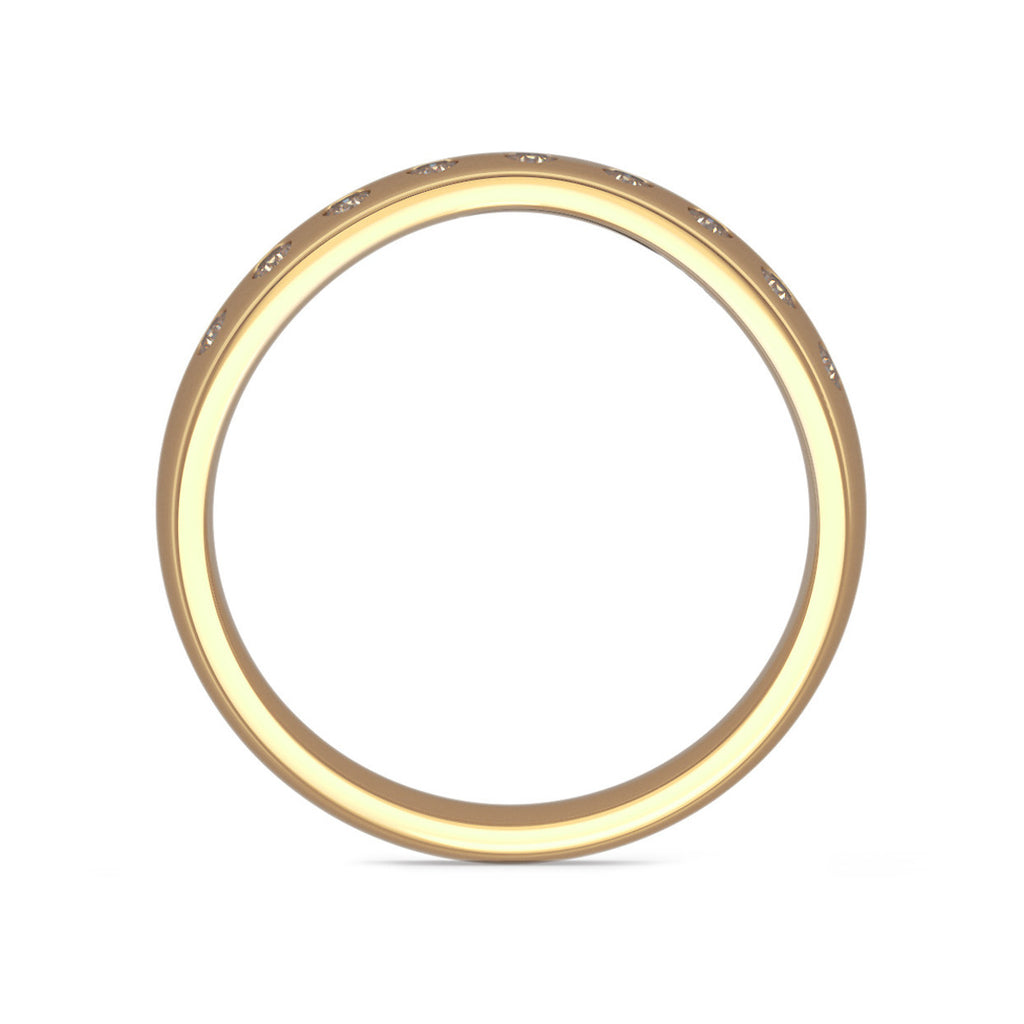 Curve Shaped Gold Wedding Ring with 9 Diamonds
