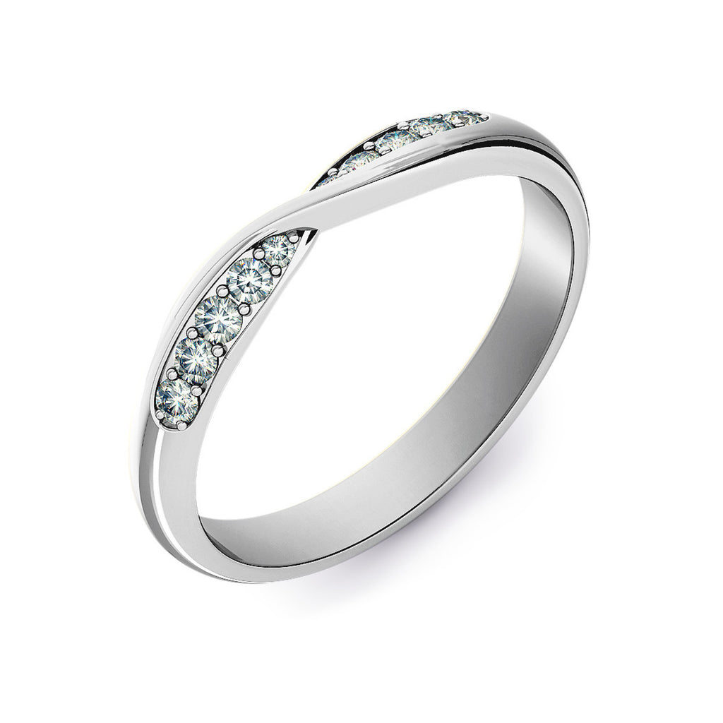 Twist Shaped Wedding Ring with Grain Set Diamonds