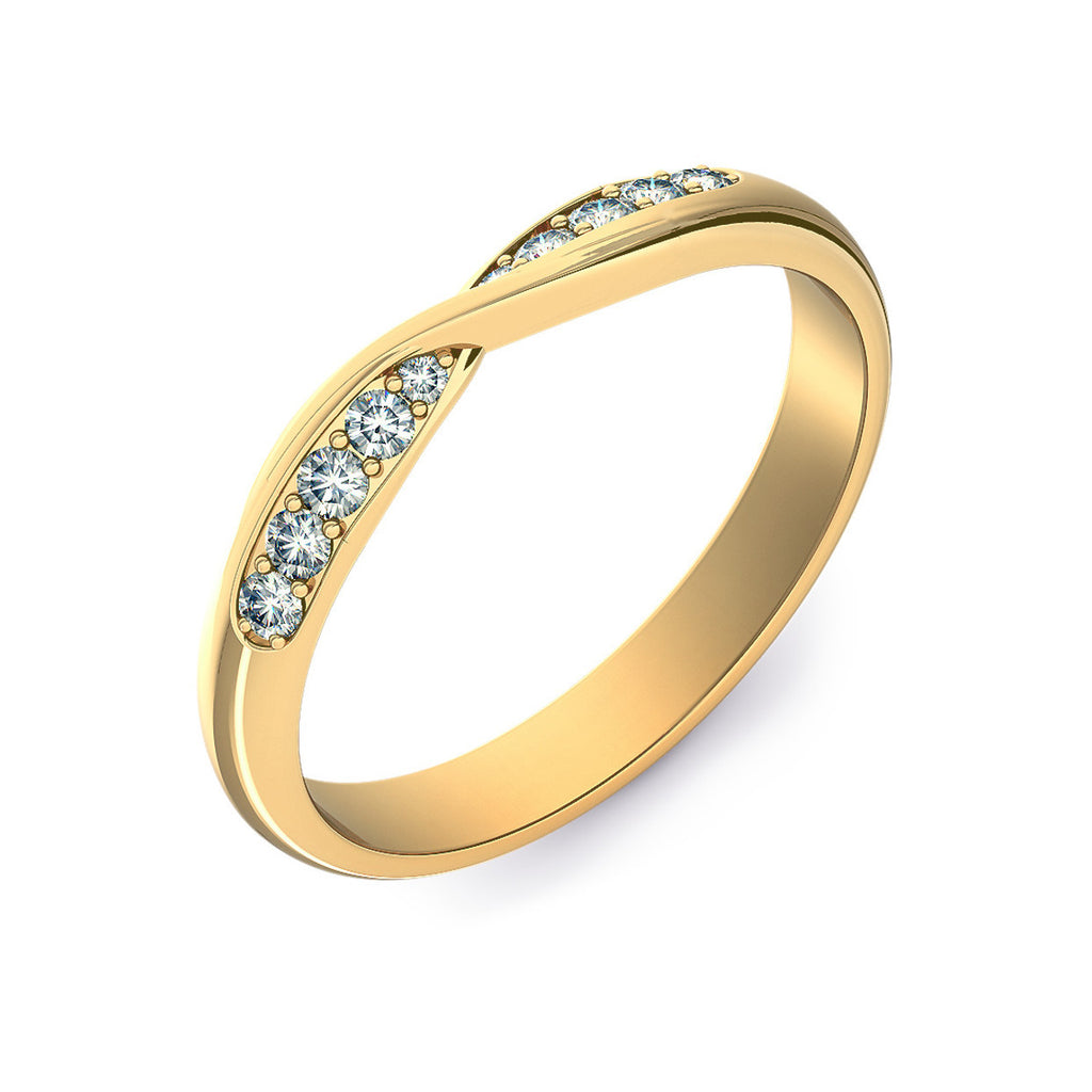 Twist Shaped Gold Wedding Ring with Grain Set Diamonds