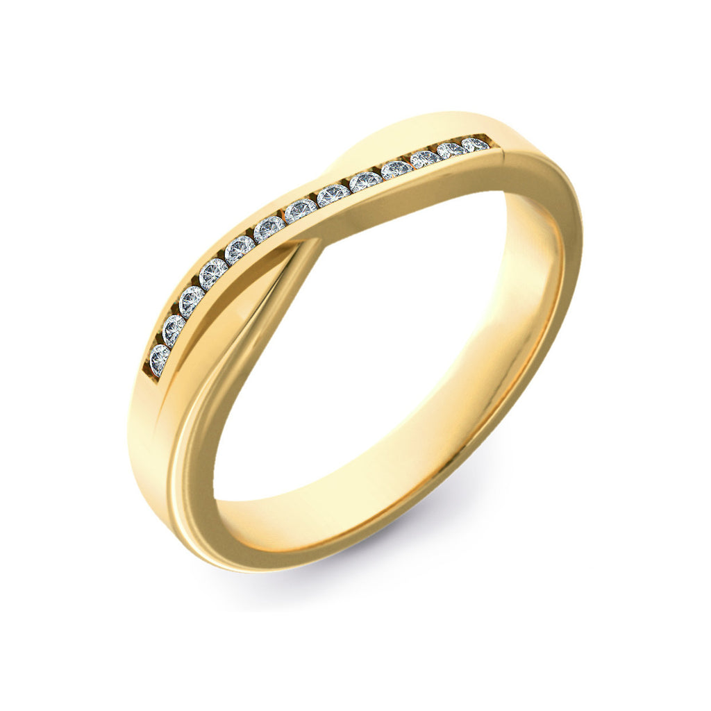 Diamond Set Crossover Gold Wedding Ring