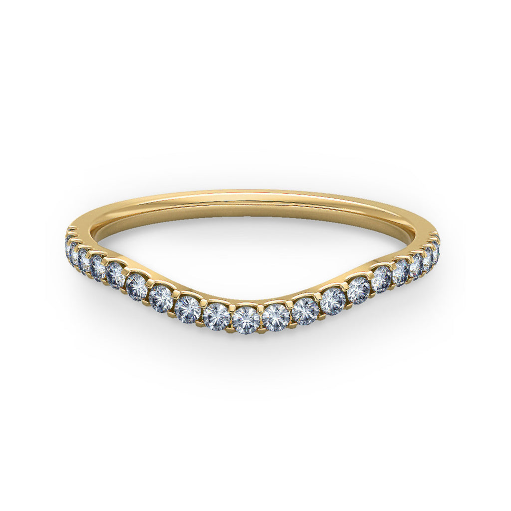 1.5mm Curve Shaped Gold Ring with Micro Claw Set Diamonds