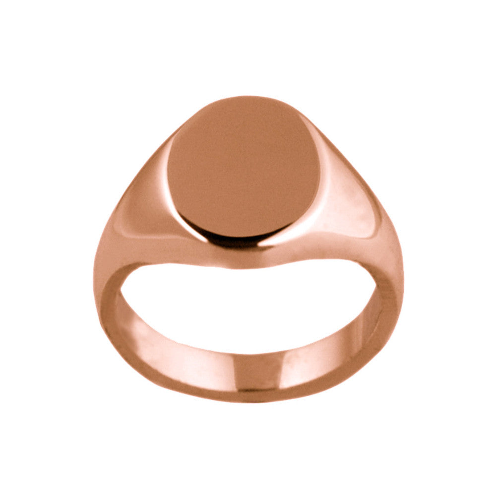 9ct Rose Gold 13 x 10mm Oval Shaped Signet Ring