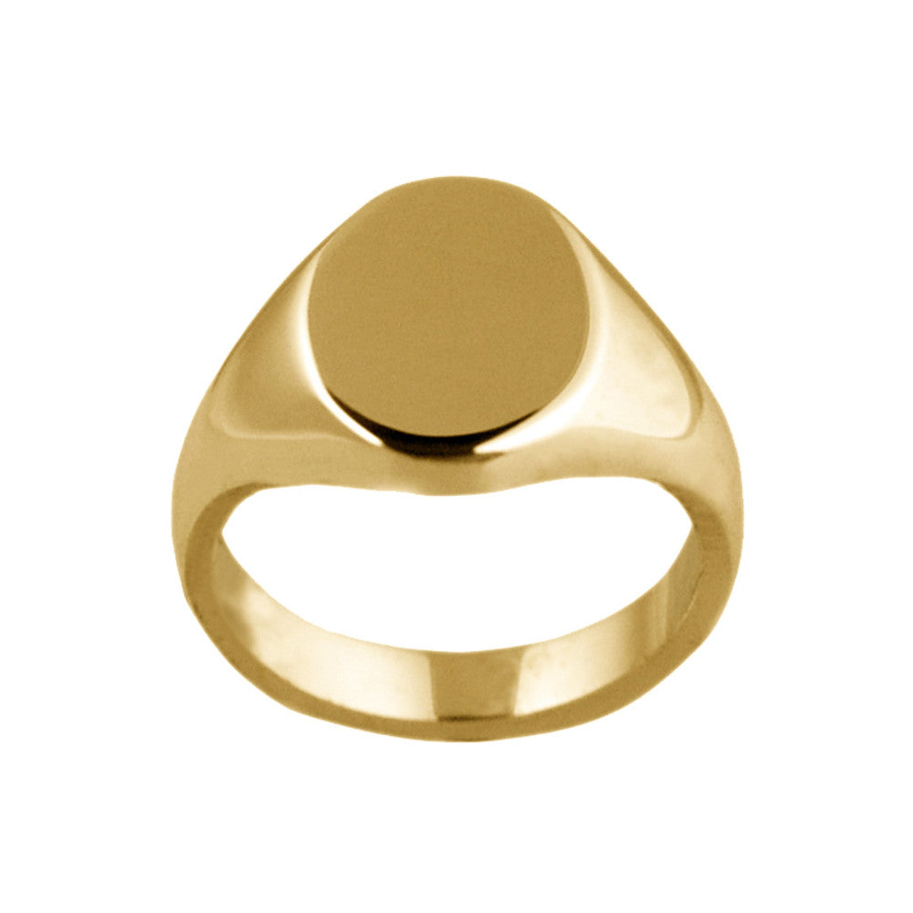 9ct Yellow Gold 13 x 10mm Oval Shaped Signet Ring