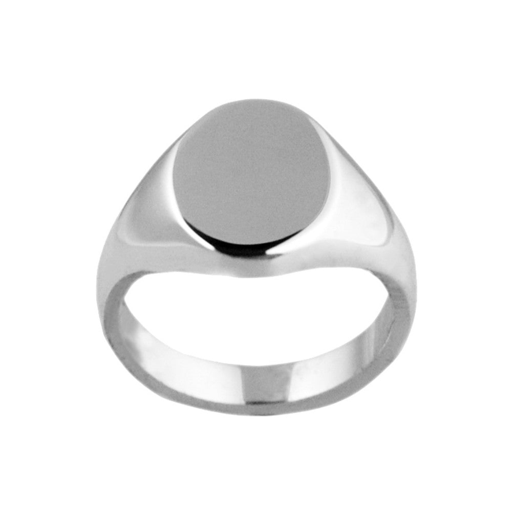 Silver 13 x 10mm Oval Shaped Signet Ring