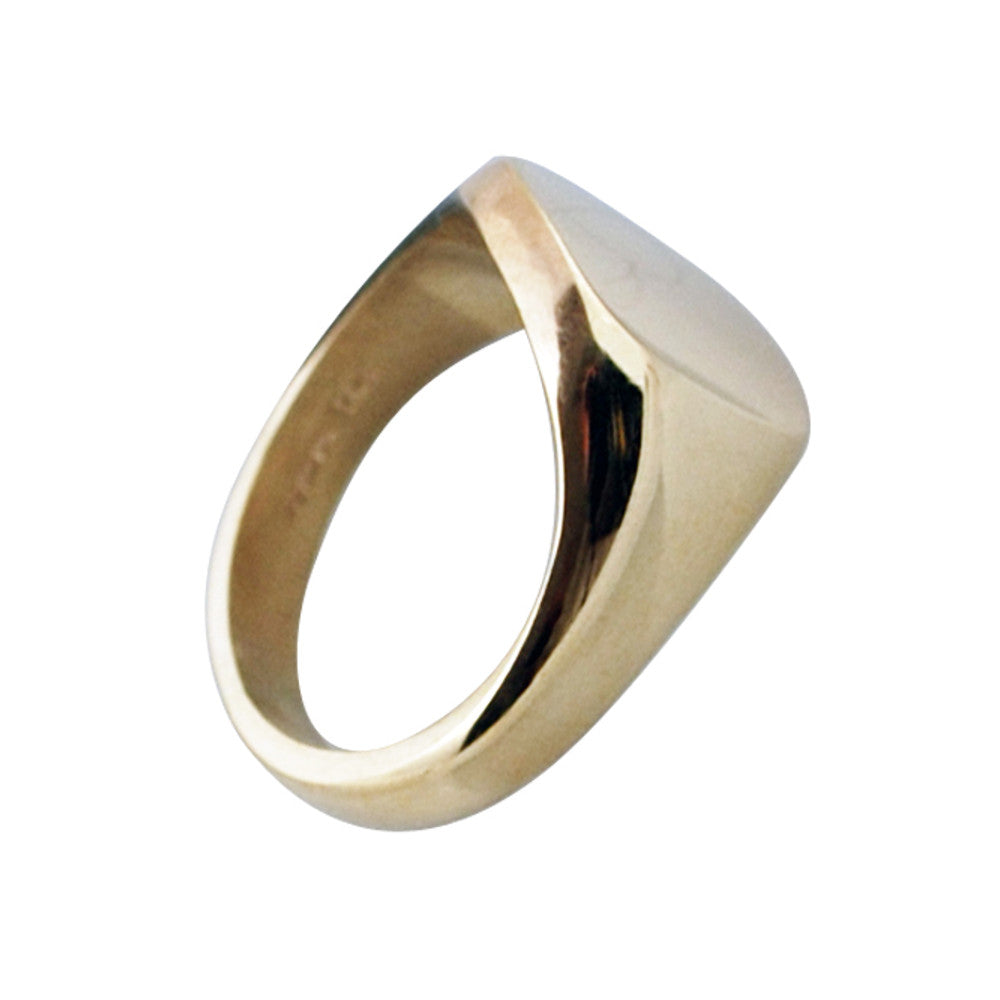 9ct Yellow Gold 13 x 13mm Cushion Signet Ring