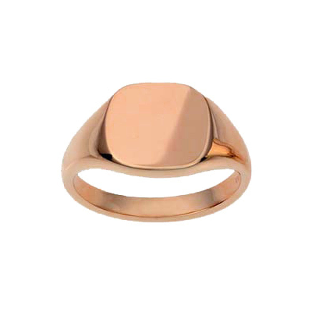9ct Rose Gold 13 x 13mm Cushion Signet Ring