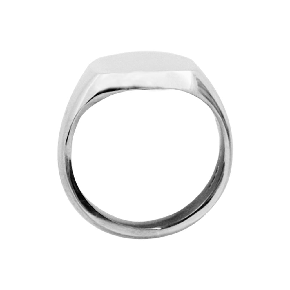 Silver 13 x 13mm Cushion Signet Ring