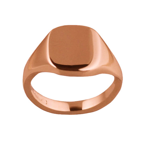 9ct Rose Gold 12 x 10mm Cushion Signet Ring