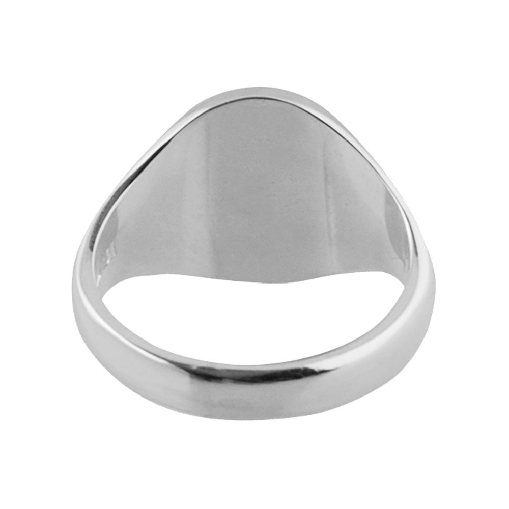 Silver 16 x 14mm Oval Shaped Signet Ring