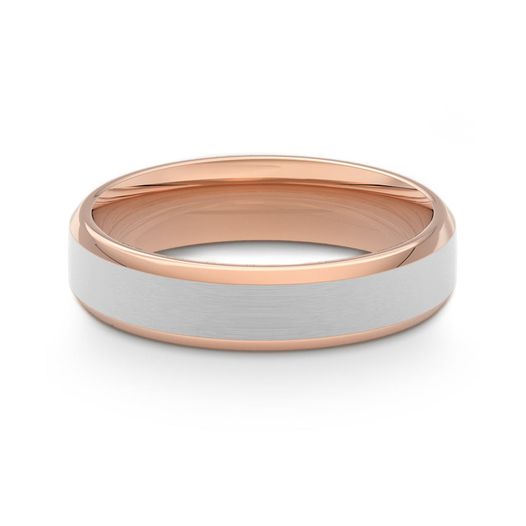 Two Tone Bevelled Edge & Brushed Rose Gold Flat Court