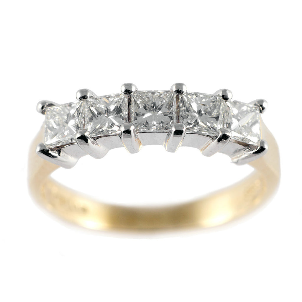 1.00 Ct Princess Diamond Gold Half Eternity Ring