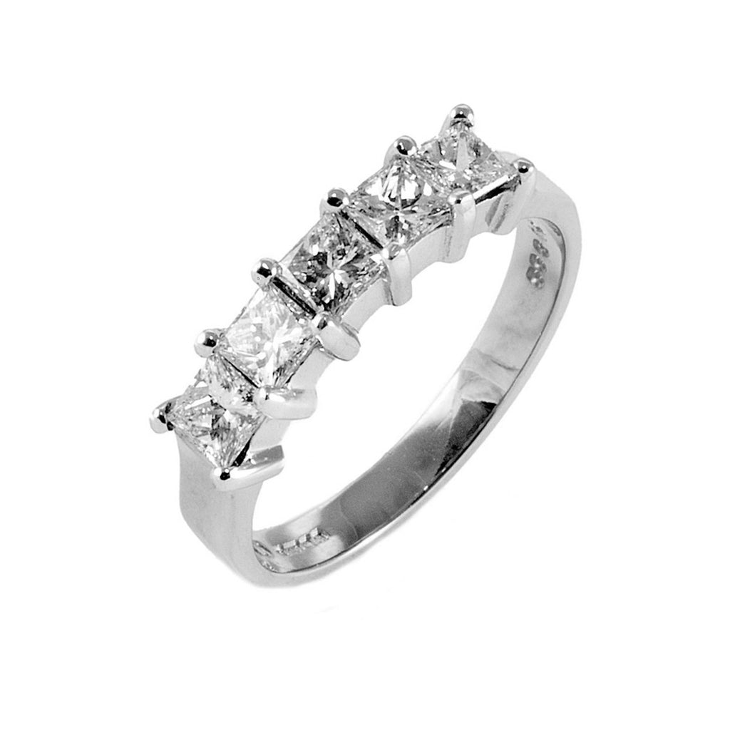 1.00 Ct Princess Diamond Half Eternity Ring