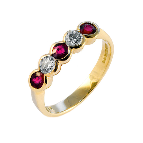 Rubover Ruby & Diamond Half Eternity