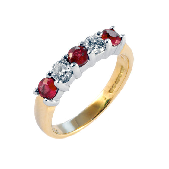 Claw Set Ruby & Diamond Half Eternity
