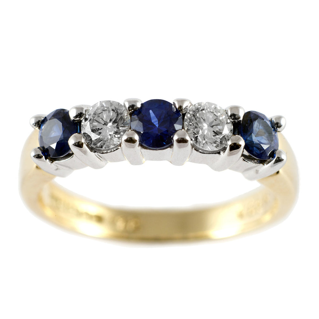 Claw Set Sapphire & Diamond Half Eternity