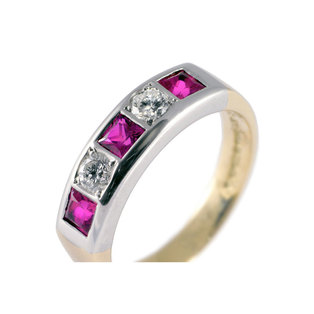 Flush Set Diamond & Ruby Half Eternity