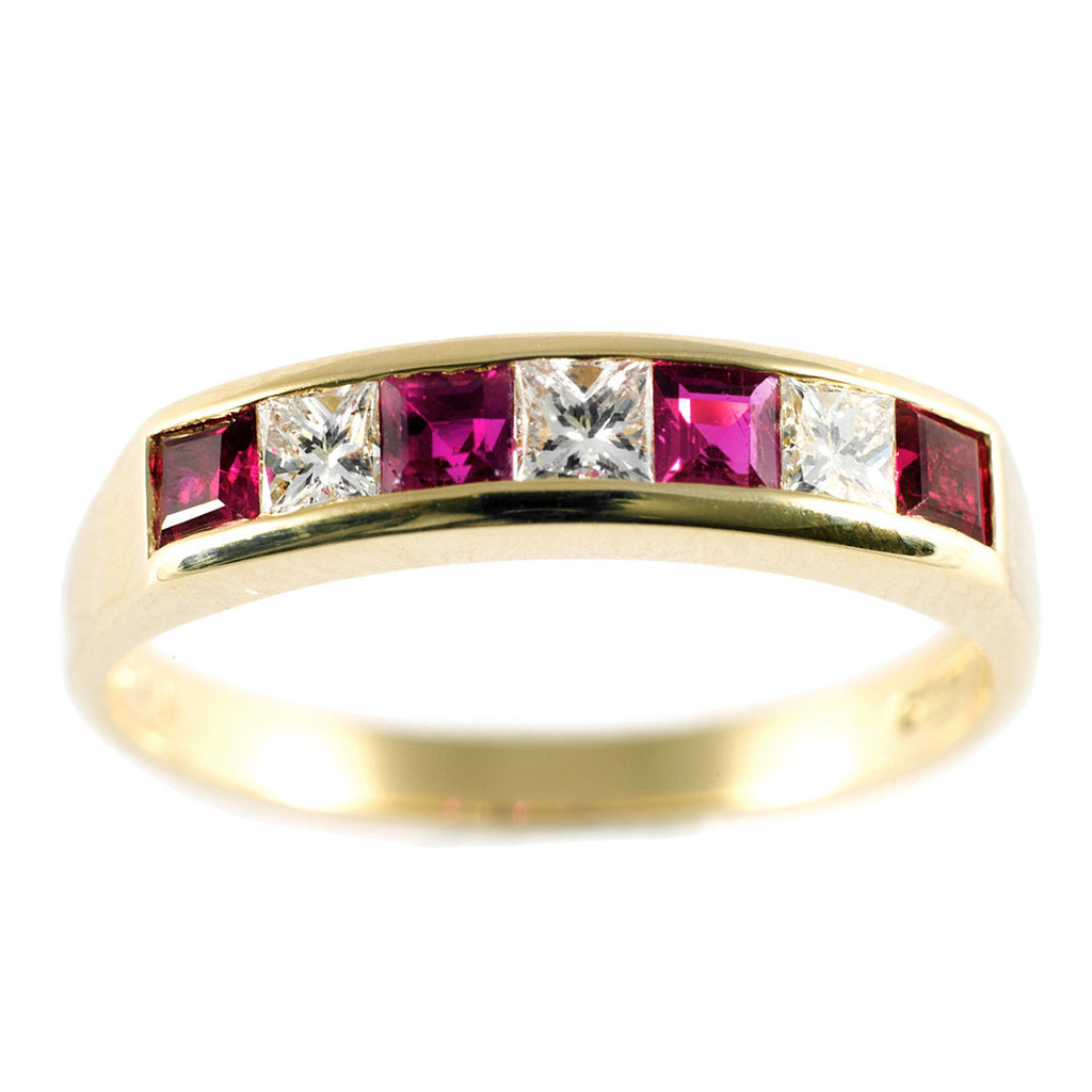 Channel Set Ruby & Diamond Half Eternity