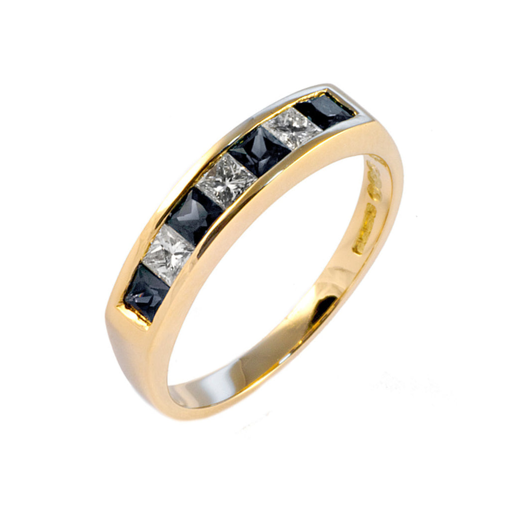 Channel Set Sapphire & Diamond Half Eternity Ring