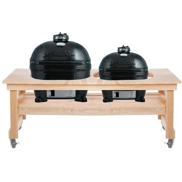 Primo Ceramic Charcoal Kamado Grill   Oval XL 400 W/ All Event Cypress Table  ...