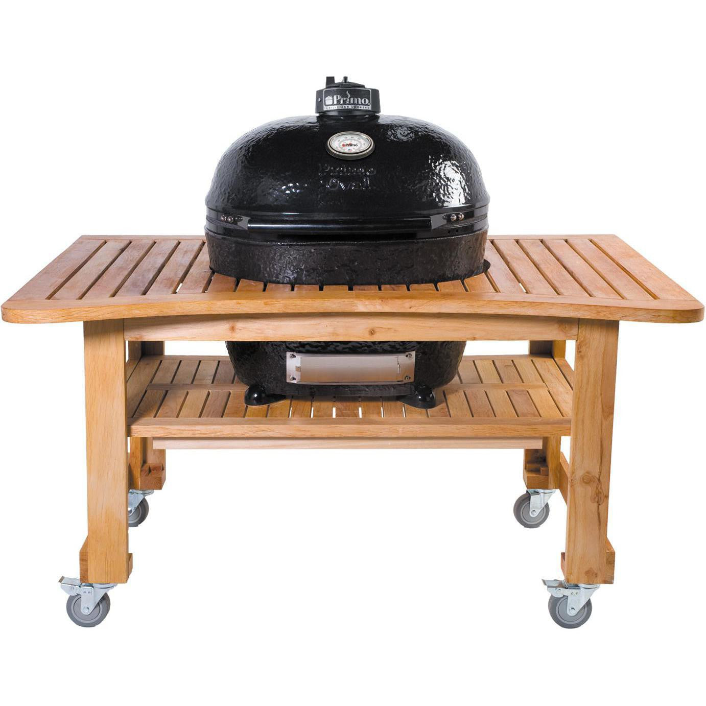 Primo Ceramic Charcoal Kamado Grill   Oval LG 300 W/ Teak Table