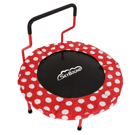 Mini 4 Indoor Children's Trampoline - Red Polka Dots - SkyBound USA