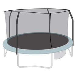 Enclosure Net for 12ft Trampolines - Fits 4 Straight-Curved Poles w/ Top Ring - SkyBound USA