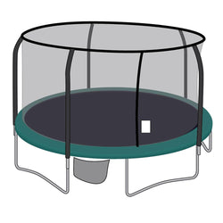 Enclosure Net for 15ft Trampolines - Fits 5 Straight-Curved Poles w/ Top or Bottom Ring