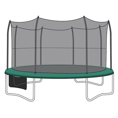 Enclosure Net for 15ft Trampolines - Fits 8 Straight-Curved Poles