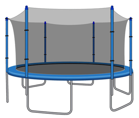 Enclosure Net for 15ft Trampolines - Fits 6 Straight Poles (Using Bolted Pole Caps)