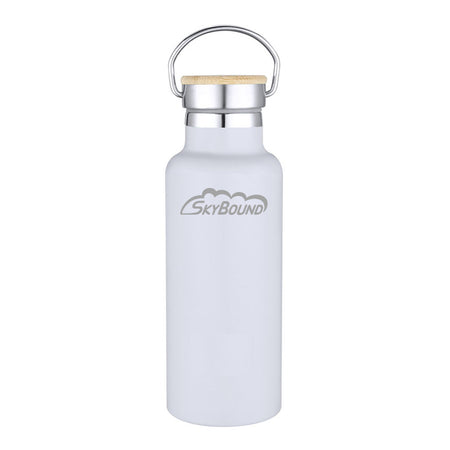 "SkyBound ""Logo"" White Aluminum Bottle with Wooden Cap - SkyBound USA"