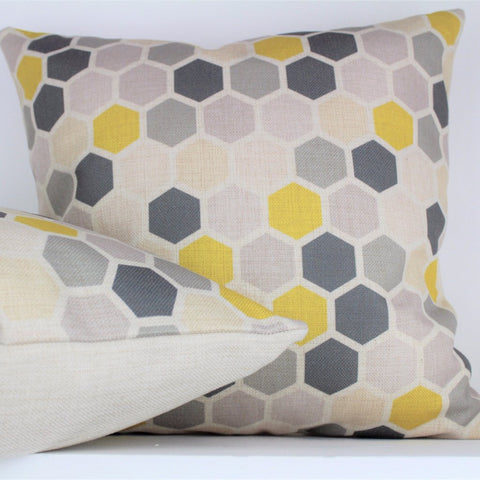 GREY AND HEXAGON YELLOW AND GREY CUSHION HONEYCOMB