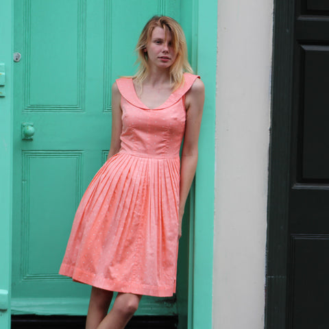 SALE *** Abigail Dress in Coral with Polka Dots (sizes 12 & 14 only)