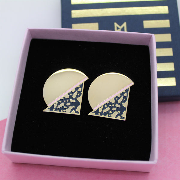 MOON STATEMENT GOLD PLATED EARRINGS BY MILKTOOTH
