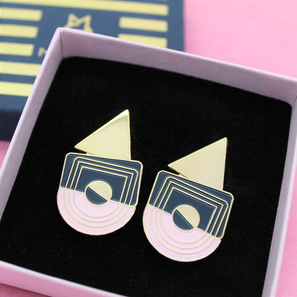 CORNER STATEMENT EARRINGS BY MILKTOOTH GOLD PLATED
