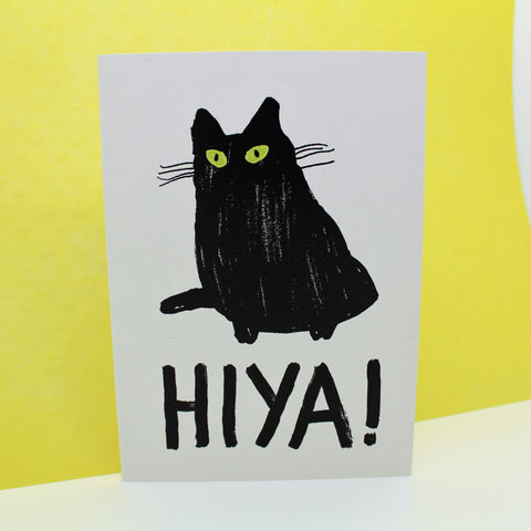 HIYA BLACK CAT FUNNY ILLUSTRATED CARD BY HEATHER MORE SCOTTISH ILLUSTRATOR