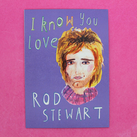 GUILTY PLEASURE I KNOW YOU LOVE ROD STEWART BY HEATHER MORE BLANK CARD