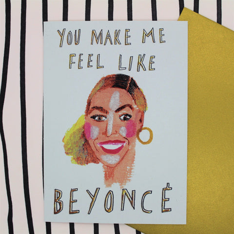 BEYONCE CARD BY HEATHER MORE GOLD ENVELOPE ILLUSTRATED