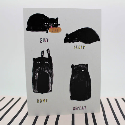 EAT SLEEP RAVE REPEAT CAT FAT BOY SLIM MUSIC INSPIRED CARD BY HEATHER MORE