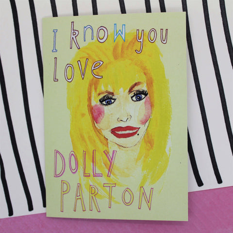 GUILTY PLEASURE I KNOW YOU LOVE DOLLY PARTON CARD BY HEATHER MORE ILLUSTRATED BLANK INSIDE