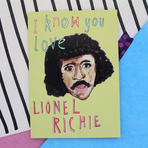 GUILTY PLEASURE I KNOW YOU LOVE LIONEL RITCHIE CARD BY HEATHER MORE BLANK INSIDE