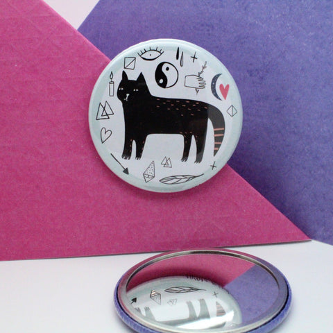 WISE BLACK CAT POCKET MIRROR BY NCOLA ROWLANDS