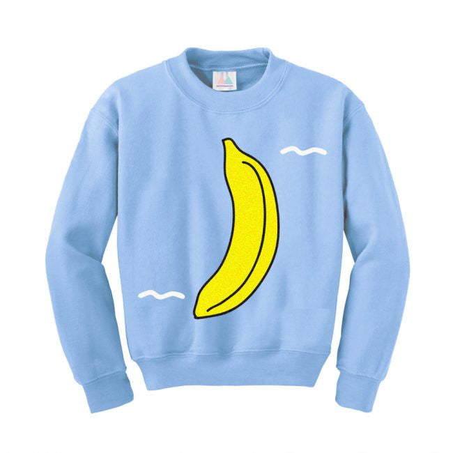 BANANA SWEATSHIRT BY MERRIMAKING IN SKY BLUE BOLD FUNNY WINTER DESIGN WITH FOOD